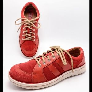 Born 8M Red Leather Sneakers Loafers Walking Shoes